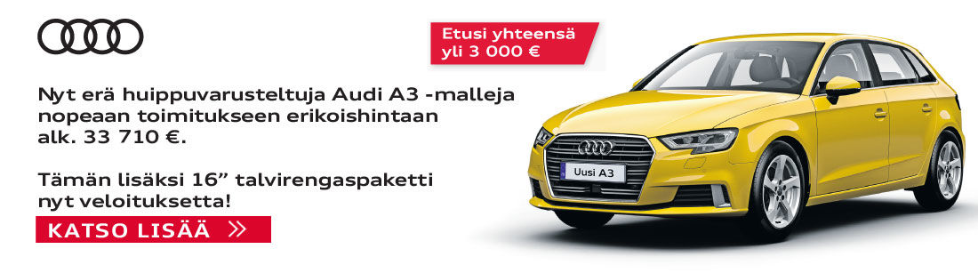 Audi A3 Sportback Business Sport Special Edition S tronic 1.0 TFSI 85 kW (116 hv) alk. 33 710 €.