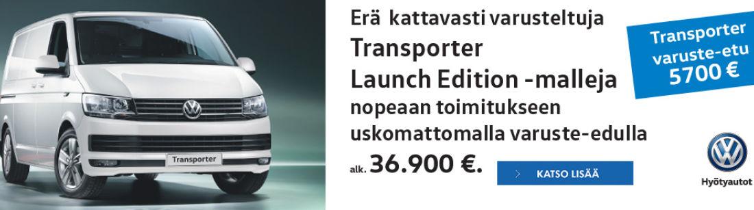 Volkswagen Transporter Launch Edition -malleja nopeaan toimitukseen uskomattomalla varuste-edulla.