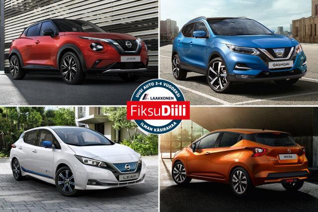 Nissan-malleja FiksuDiilillä edullisella kuukausierällä.