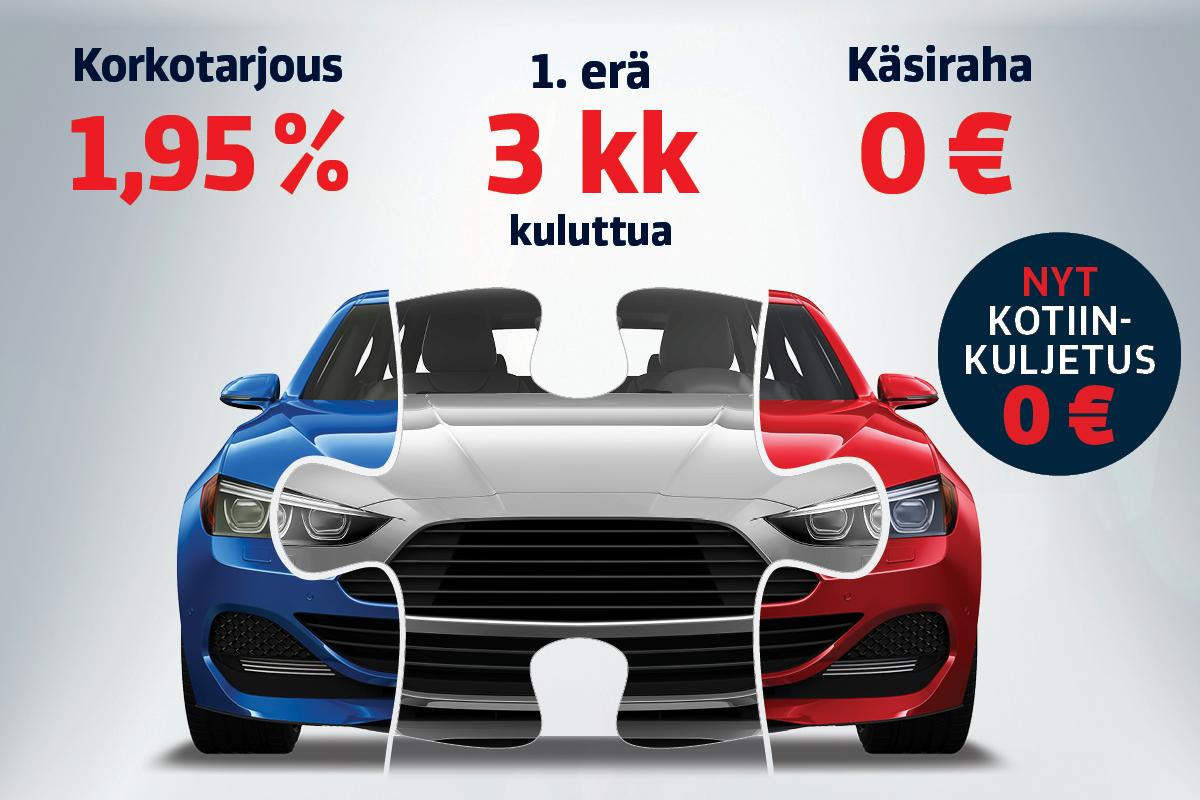 Vaihto- tai esittelyauton ostajalle rahoitus 1,95 % korolla, käsiraha 0 € sekä runsaasti maksuaikaa.