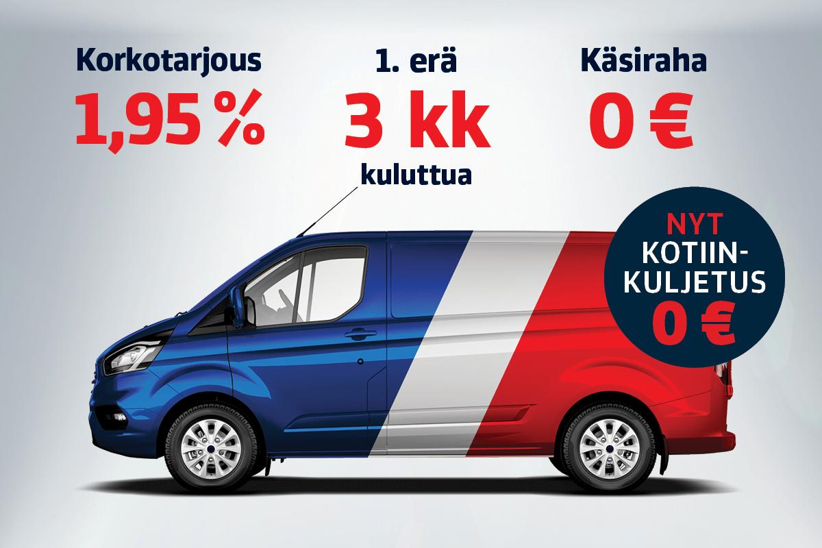 Erä vähän ajettuja pakettiautoja 1,95 % korolla ja ilman käsirahaa.