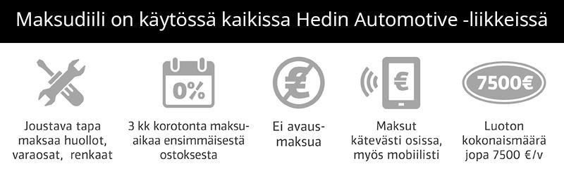 MaksuDiili on voimassa kaikissa Laakkosen liikkeissä. Edut: Joustava tapa maksaa huollot, varaosat ja renkaat. 3kk korotonta maksuaikaa ensimmäisestä ostoksesta. Ei avausmaksua. Maksut kätevästi osissa myös mobiilisti. Luoton kokonaismäärä jopa 7500 €/v.